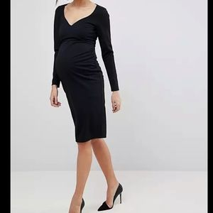ASOS MATERNITY Midi V Neck Pencil Dress with Long Sleeves